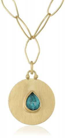 Stephanie Albertson Gold Single Stone Medallion Necklace