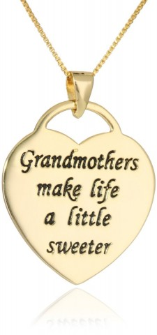 """18"""" Sterling Silver """"Grandmothers Make Life A Little Sweeter"""" Heart Pendant Necklace"""
