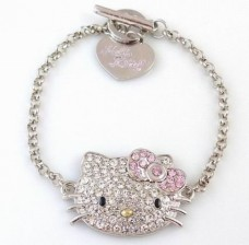 Hello-Kitty-Silver-Tone-Crystal-Charm-Bracelet