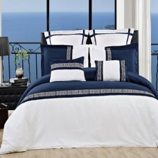 California-King-Astride-12PC-Navy-with-White-Embroidered-Microfiber-Comforter-Set