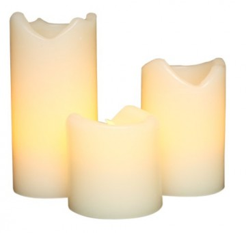 Everlasting Glow LED Ivory Wax Candles With Drip Effect, Set of 3 - Gift for home decor