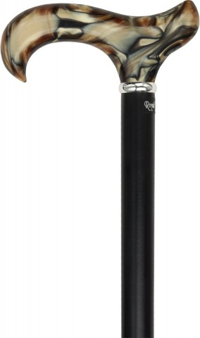 Royal Canes -Golden Sienna Derby Walking Cane With Black Beechwood Shaft and Silver Collar