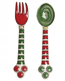 Caffco-International-M-Bagwell-Simply-Christmas-Collection-Ceramic-Fork-and-Spoon-Serving-Set