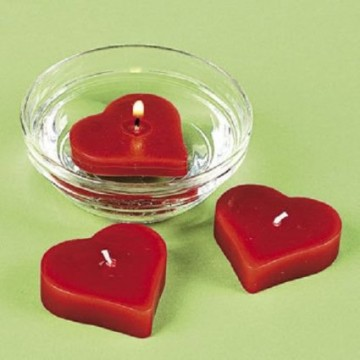Red Heart Shaped Floating Candles