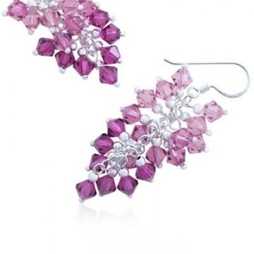 Crystal Sterling Silver Dangle Hook Earrings