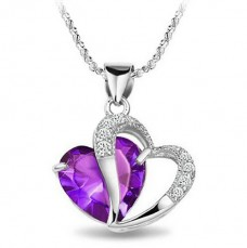 Rhodium-plated-925-silver-amethyst-heart-shaped-pendant-and-Necklace-Gift-for-your-loved-one-