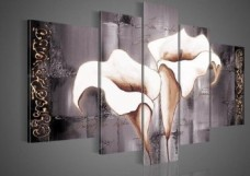 Santin-Art-100-Hand-painted-Free-Shipping-Wood-Framed-Brown-Lily-Fashion-Flower-Home-Decoration