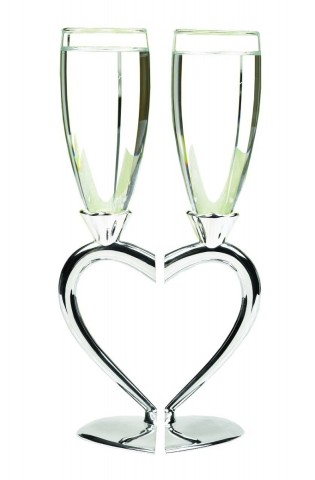Wedding Accessories Interlocking Heart Champagne Toasting Flutes, Set of 2