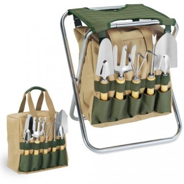 Picnic Time Garden Tool Set With Tote And Folding Seat