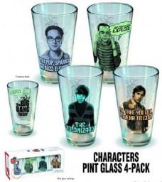 Big-Bang-Theory-Character-Pint-Glass-4-Pack-Limited-Edition-