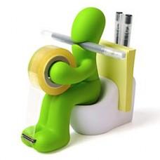 Butt-Station-Tape-Dispenser-Pen-Memo-Holder-Paper-Clip-Storage-Green