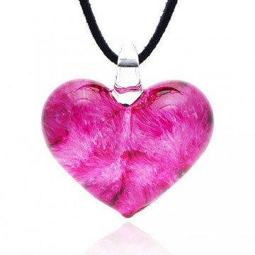 Heart Shaped Glass Pendant Necklace
