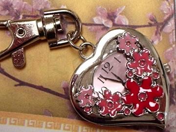 Hearts shaped Keychain Pocket Watch