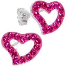 Silver Pink Crystal Earrings