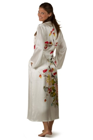 54b6468d9376 Women s White Silk Robe with Hand Painted Chrysanthemum - Perfect gift for  her. Price -  119