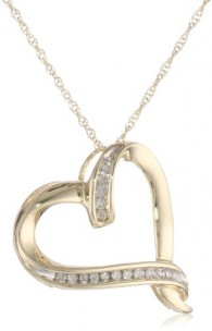 10k-Yellow-Gold-Diamond-Abstract-Heart-Pendant-Necklace