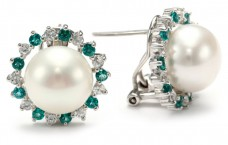 Sterling-Silver-White-Freshwater-Cultured-Pearl-with-Created-White-Sapphire-and-Green-Emerald-Earrings