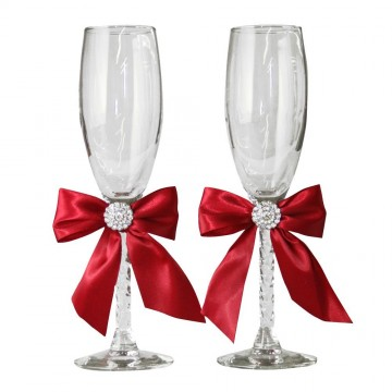 Jamie Lynn Red Allure Collection Toasting Flutes