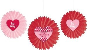 Creative Converting Paper Tissue Fan Hanging Decorations with Valentine