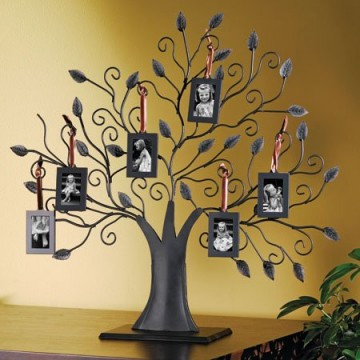 Family Tree Picture Frame Bronze With 6 Hanging Pictures