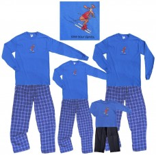 Moose-on-Skis-Royal-Blue-Long-Sleeve-Clothing-Set-Choose-Kids-or-Adult