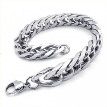 KONOV Jewelry Stainless Steel Wide Link Men