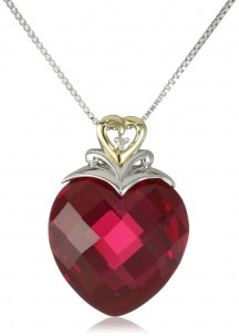 Buy-XPY-Sterling-Silver-and-14k-Yellow-Gold-Created-Ruby-Heart-and-Diamond-Accent-Pendant-Necklace