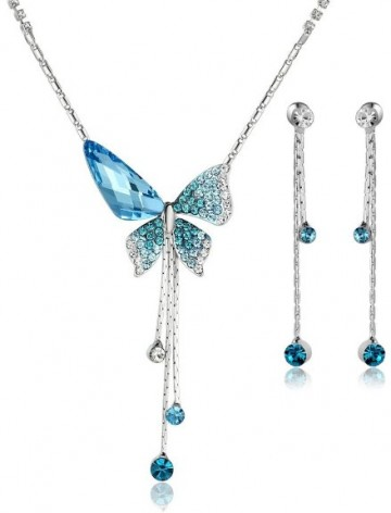 Arco Iris Butterfly Sunburst Crystal Necklace and Earring Set.