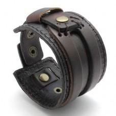 KONOV-Jewelry-Wide-Genuine-Leather-Mens-Bangle-Cuff-Bracelet-Color-Brown