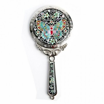 Makeup Hand Held Mirror with Butterfly Design