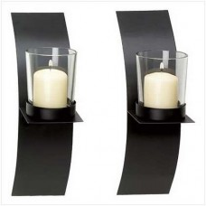 Gifts-Decor-Modern-Art-Candle-Holder-Wall-Sconce-Plaque-Set-of-2