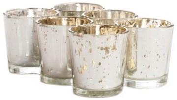Koyal 6-Pack Antique Votive Cup, Silver