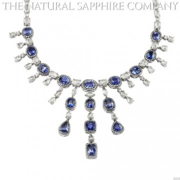 Natural Blue Sapphires set in an 18k White Gold Necklace with 28.06cts of Diamonds