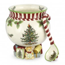 Spode-Christmas-Tree-Peppermint-140-Ounce-Footed-Punch-Bowl-with-Ladle-10-Inch