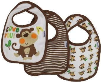 Baby-Boys 3 Pack Terry Dribbler Bib Monkey