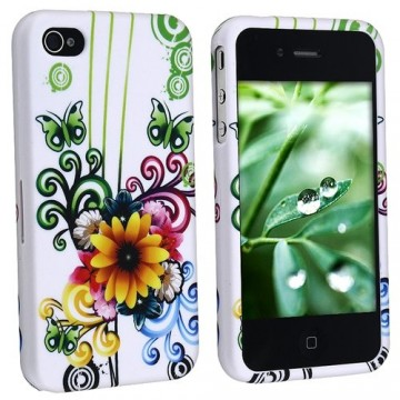 Flower Floral Butterfly Hard Design Case for Apple iPhone (4th Generation)