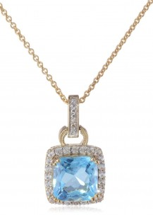 Sterling-Silver-Yellow-Gold-Plated-Birthstone-with-Gemstone-and-Created-White-Sapphire-Pendant-Necklac