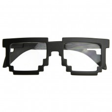 Pixelated-8-Bit-Clear-Lens-Computer-Nerd-Geek-Gamer-Glasses-With-Free-Microfiber-Pouch-