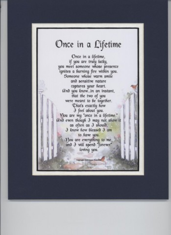 """""""Once In A Lifetime"""" A Sentimental Gift Poem"""